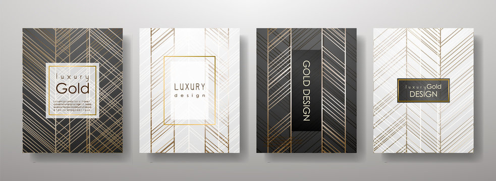 Gold lines template set, artistic covers design, colorful texture,realistic fluid backgrounds. Black, white Trendy pattern, graphic poster, geometric brochure, cards. Vector illustration
