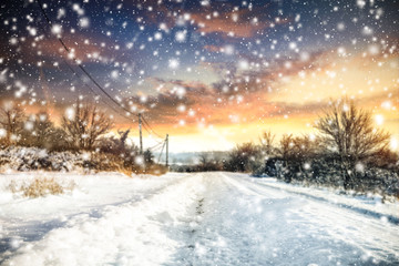 winter road background of free space for your text