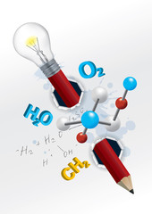 Playful chemistry education concept.  Torn paper with chemistry formulas and pencil with light bulb.Vector available.