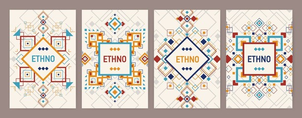 Collection of vertical backgrounds with traditional Aztec ornament or decorative border. Bundle of flyer or postcard templates with colorful geometric decorations in ethnic style. Vector illustration.