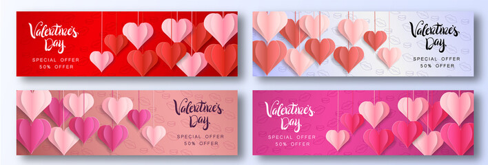 Happy Valentine's Day design for greeting card. Can be used on banners or web. 3D paper style. Heart hanging on a thread, inscription: Happy Valentines Day, pink background. Vector illustration.
