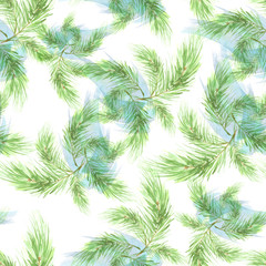 Watercolor Vintage seamless pattern. With a picture - a branch of spruce, Pine, fir-tree and cedar. The pattern of pine branches. Use for various designs, materials, packaging, paper.