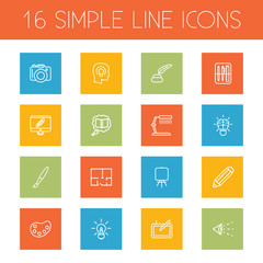 Set Of 16 Creative Outline Icons Set.Collection Of Drawing Tools, Property Plan, Easel And Other Elements.