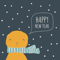 Chick. Postcard Happy New Year. Cute animals and snow. Character. Cartoon vector illustration
