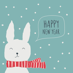 Rabbit. Postcard Happy New Year. Cute animals and snow. Character. Cartoon vector illustration