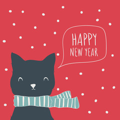 Cat. Postcard Happy New Year. Cute animals and snow. Character. Cartoon vector illustration