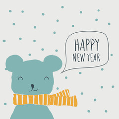 Bear. Postcard Happy New Year. Cute animals and snow. Character. Cartoon vector illustration