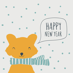 Fox. Postcard Happy New Year. Cute animals and snow. Character. Cartoon vector illustration