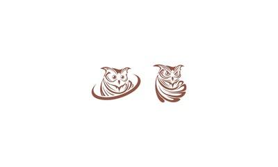 owl emblem symbol icon vector logo