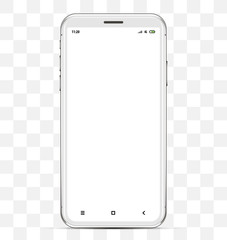 the front of the smartphone with a blank screen in high detail