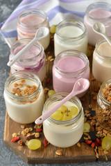 Various natural yogurts