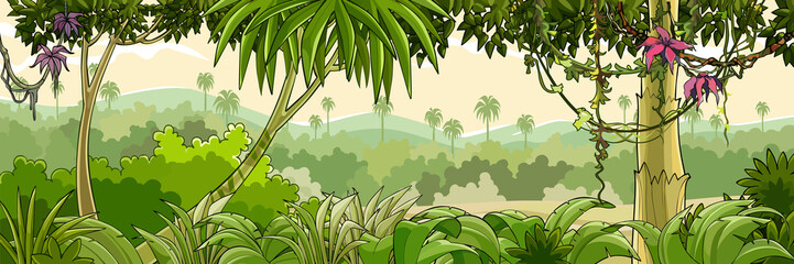 panorama cartoon green tropical forest with palm trees
