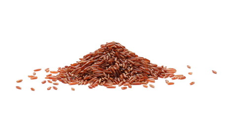 Red wild rice pile isolated on white background
