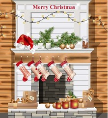 Christmas decorated chimney Vector realistic. Santa socks and presents
