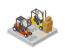 Warehouse forklifts in loading isometric 3D icon. Storage logistics and cargo shipping service vector illustration isolated on white background.