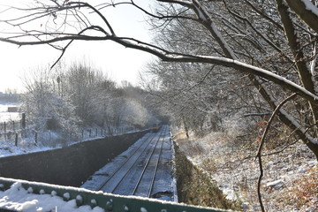 Train on snowy line