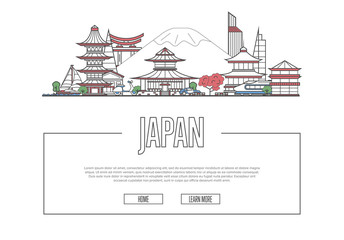 Travel Japan vector composition with famous architectural landmarks in linear style. Worldwide traveling and time to travel concept. Japanese national attractions on white background, global tourism.