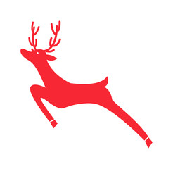 Running Red Reindeer Icon Vector Illustration