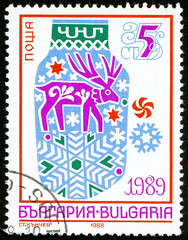 UKRAINE - circa 2017: A postage stamp printed in Bulgaria shows New year picture, circa 1988