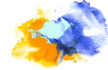 Abstract painting with blue and orange paint strokes on white