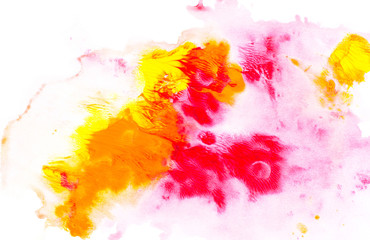Abstract painting with bright colorful watercolor paint blots on white