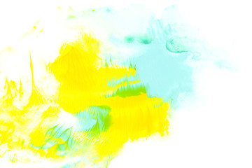 Abstract painting with blue and yellow watercolour paint strokes on white