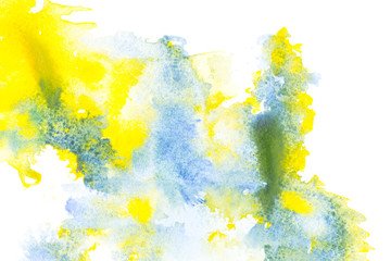 Abstract painting with blue and yellow watercolor paint blots on white