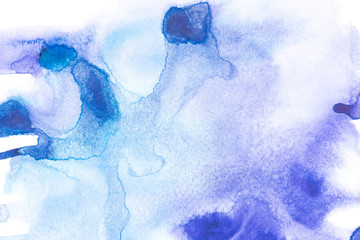 Abstract painting with blue watercolour paint spots on white