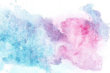 Abstract painting with pink and blue paint spots on white