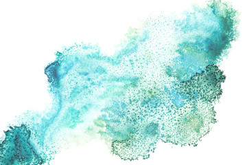Abstract painting with bright blue paint spots on white