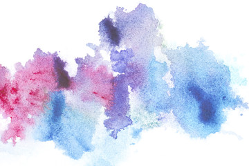 Abstract painting with bright blue and pink paint blots on white