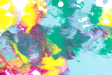 Abstract painting with bright colorful paint blots on white