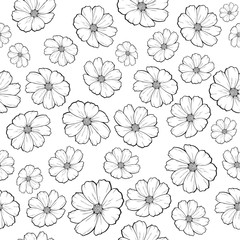 Flower pattern in black and white colors, coloring book, vector illustration isolated on white background