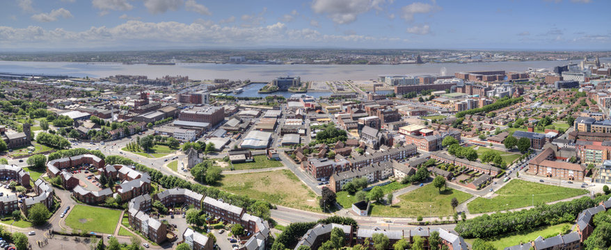 View of Liverpool Docks Along the Mersey River, UK.