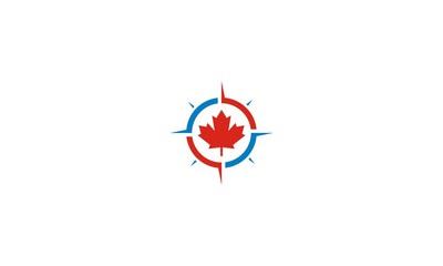 canada, leaf, maple, compass, emblem symbol icon vector logo