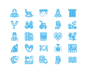 Elderly care vector flat line icons. Nursing home elements - old people activity, wheelchair, health check, hospital call button, grandfather, grandmather, doctor. Pixel perfect 64x64.