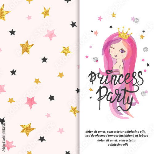 Princess Party Invitation Template Vector Birthday Card Design For Little Girl