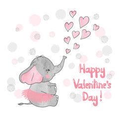 Valentines Day vector card with cute little elephant and hearts.