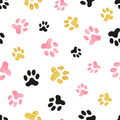 Dog paw print seamless pattern in pink, black and golden colors.