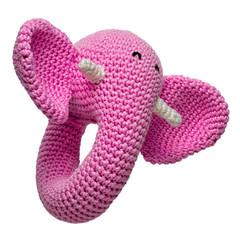 amigurumi crocheted pink elephant toy isolated on white background