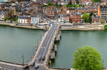Editorial: 17th April 2017: Namur, Belgium. High resolution panoramic aerial view.