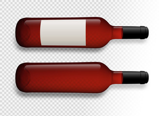 Illustration of red wine bottles with transparent background. Wine bottles with shadow. Wine bottles with label. Vector drawing isolated