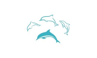Dolphins, emblem symbol icon vector logo
