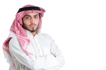 Young arab  buisnisman. Isolated
