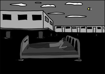 A man on the bed in the night water