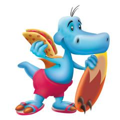 Blue dinosaur the surfer with quesadilla, surfboard, surfing, wave, animal, cartoon, dinosaur, sandwich