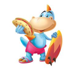 Dinosaur with the surf board and sandwich, surfboard, surfing, wave, animal, cartoon, dinosaur, sandwich