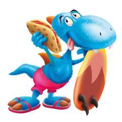 Furry dinosaur the surfer, surfboard, surfing, wave, animal, cartoon, dinosaur, piadine
