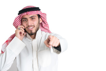 Young arab  buisnisman talking on the phone. isolated