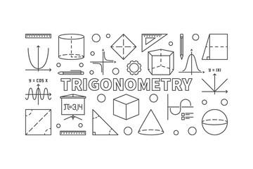 Trigonometry vector horizontal illustration